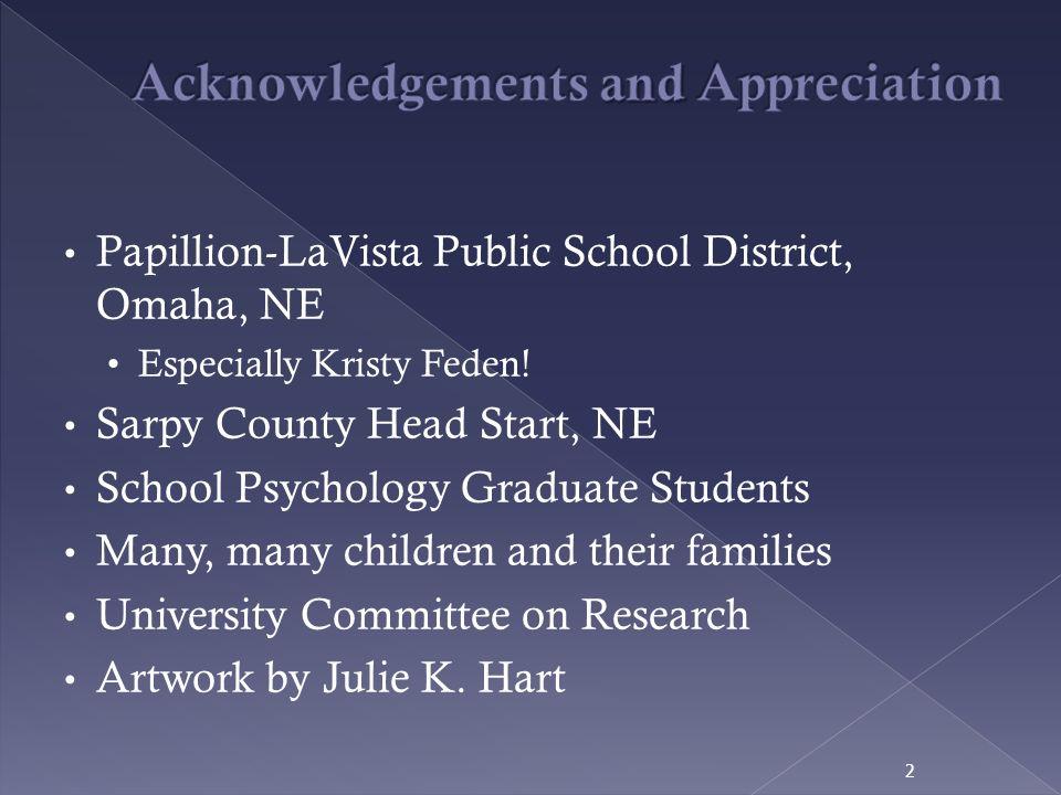 Papillion-LaVista Public School District, Omaha, NE Especially Kristy Feden! Sarpy County Head Start, NE School Psychology Graduate Students Many, man