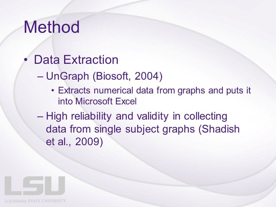 Method Data Extraction –UnGraph (Biosoft, 2004) Extracts numerical data from graphs and puts it into Microsoft Excel –High reliability and validity in collecting data from single subject graphs (Shadish et al., 2009)