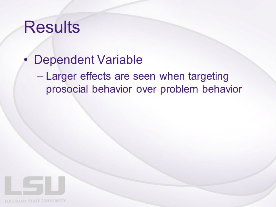 Results Dependent Variable –Larger effects are seen when targeting prosocial behavior over problem behavior