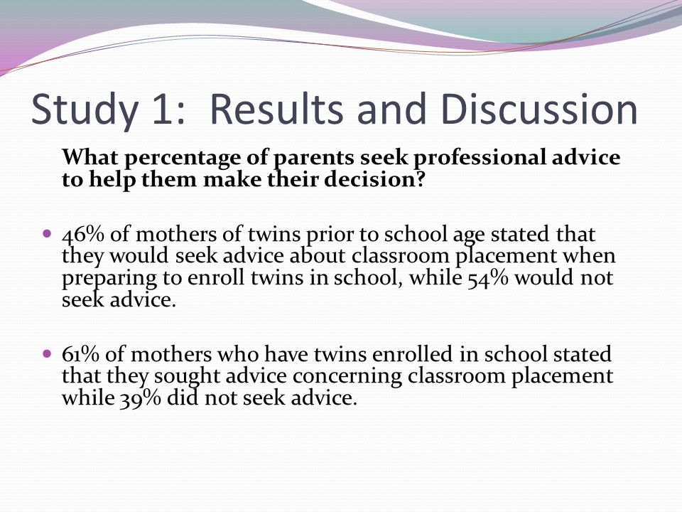 Study 1: Results and Discussion What percentage of parents seek professional advice to help them make their decision.