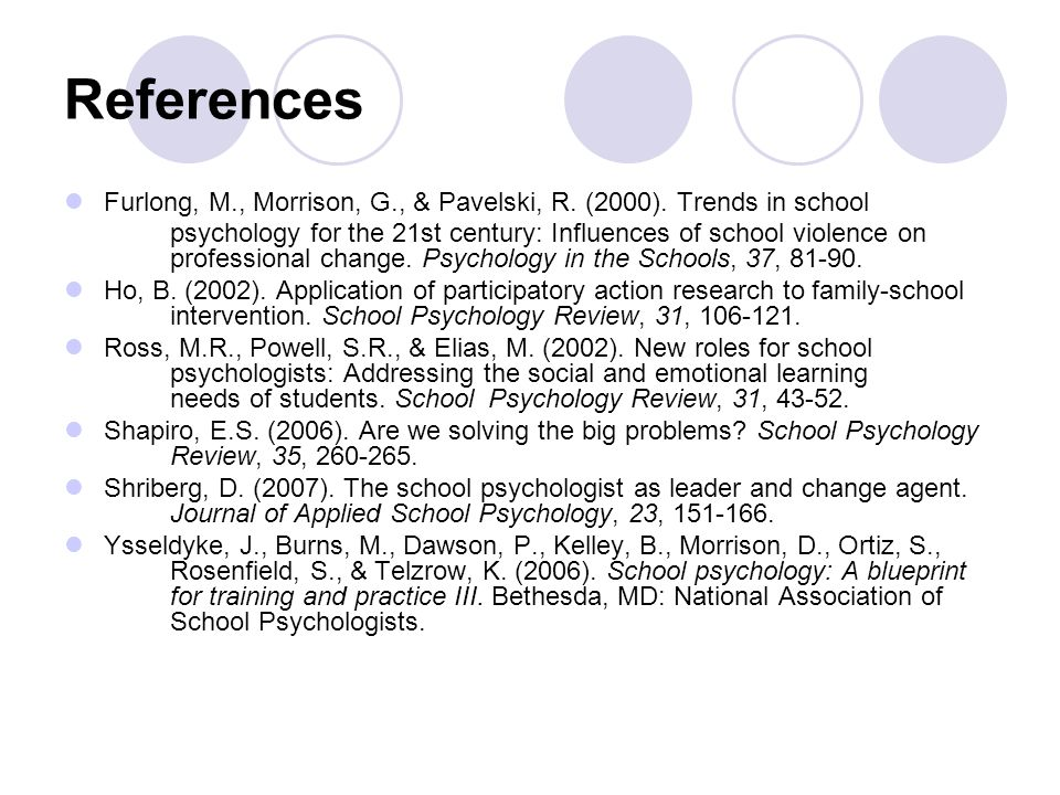 References Furlong, M., Morrison, G., & Pavelski, R. (2000). Trends in school psychology for the 21st century: Influences of school violence on profes