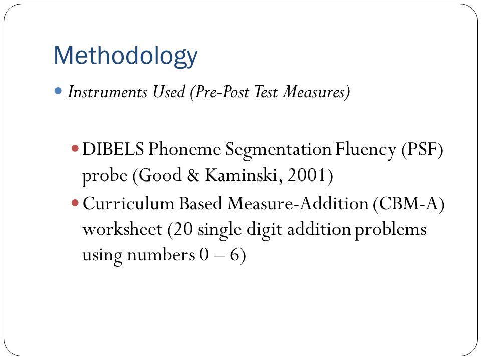 Methodology Instruments Used (Pre-Post Test Measures) DIBELS Phoneme Segmentation Fluency (PSF) probe (Good & Kaminski, 2001) Curriculum Based Measure