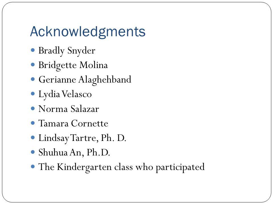 Acknowledgments Bradly Snyder Bridgette Molina Gerianne Alaghehband Lydia Velasco Norma Salazar Tamara Cornette Lindsay Tartre, Ph.