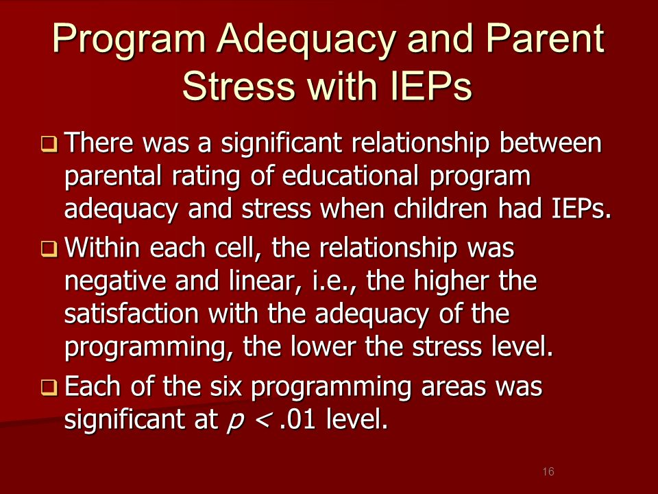 Program Adequacy and Parent Stress with IEPs There was a significant relationship between parental rating of educational program adequacy and stress w