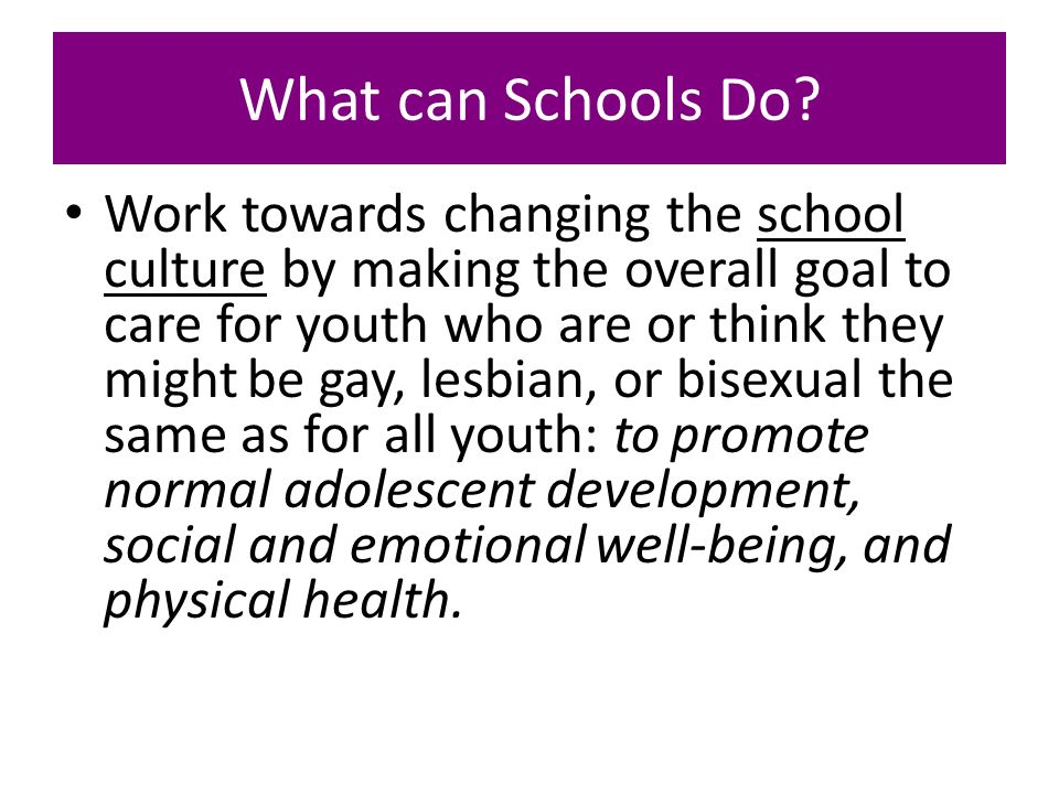 What can Schools Do? Work towards changing the school culture by making the overall goal to care for youth who are or think they might be gay, lesbian
