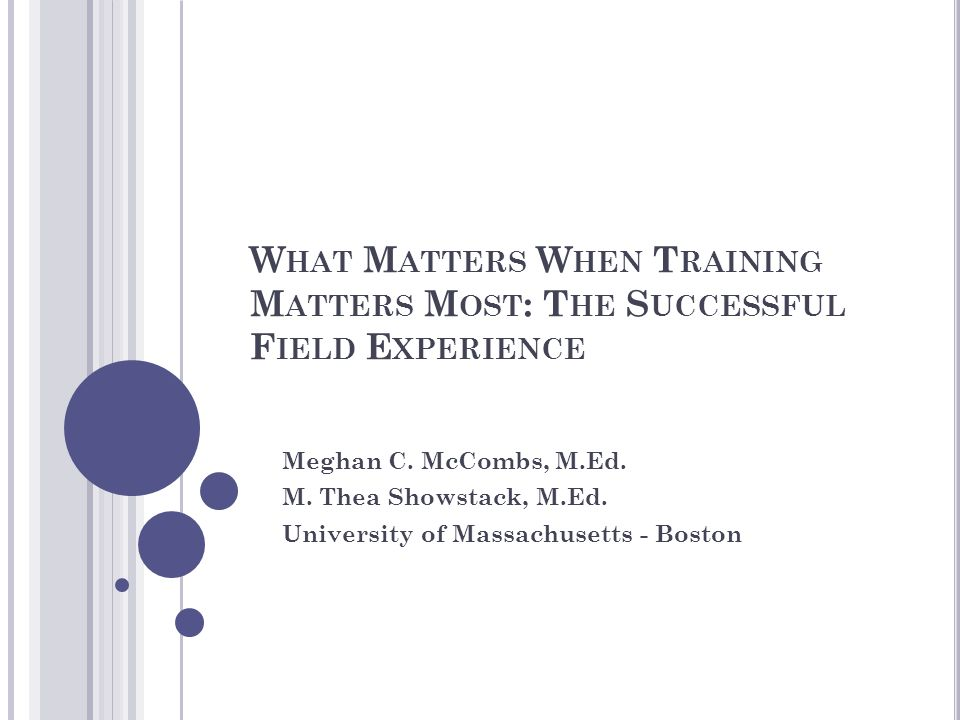 W HAT M ATTERS W HEN T RAINING M ATTERS M OST : T HE S UCCESSFUL F IELD E XPERIENCE Meghan C. McCombs, M.Ed. M. Thea Showstack, M.Ed. University of Ma