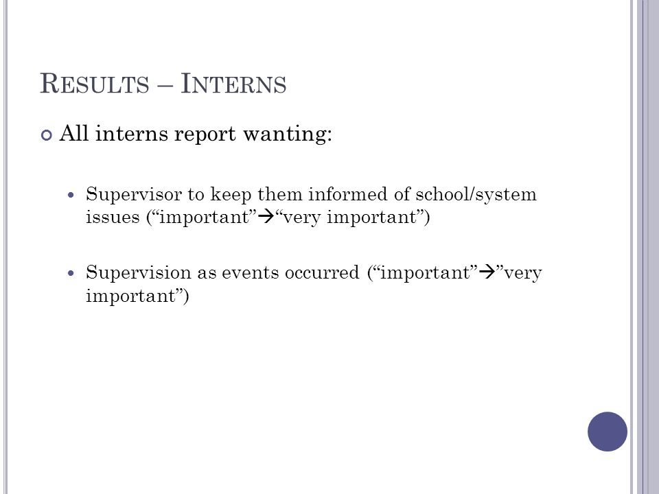 R ESULTS – I NTERNS All interns report wanting: Supervisor to keep them informed of school/system issues (important very important) Supervision as eve