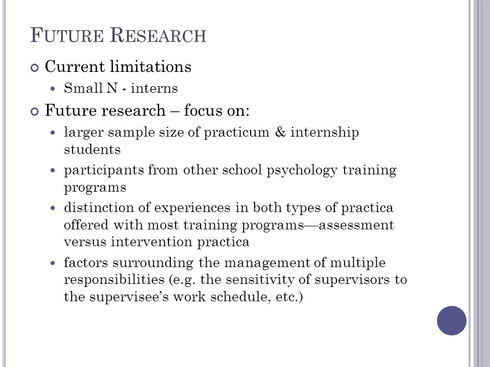 F UTURE R ESEARCH Current limitations Small N - interns Future research – focus on: larger sample size of practicum & internship students participants