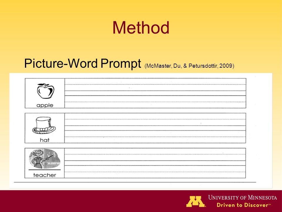 Method Picture-Word Prompt (McMaster, Du, & Petursdottir, 2009)