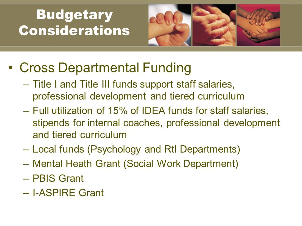 Cross Departmental Funding –Title I and Title III funds support staff salaries, professional development and tiered curriculum –Full utilization of 15% of IDEA funds for staff salaries, stipends for internal coaches, professional development and tiered curriculum –Local funds (Psychology and RtI Departments) –Mental Heath Grant (Social Work Department) –PBIS Grant –I-ASPIRE Grant Budgetary Considerations