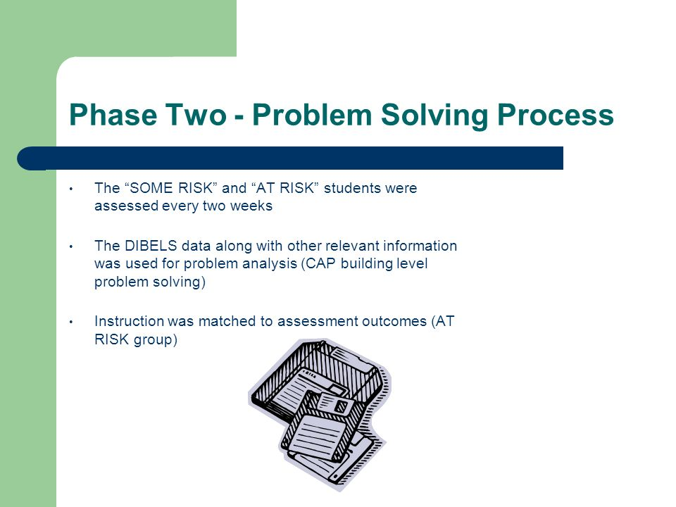 Phase Two - Problem Solving Process The SOME RISK and AT RISK students were assessed every two weeks The DIBELS data along with other relevant informa