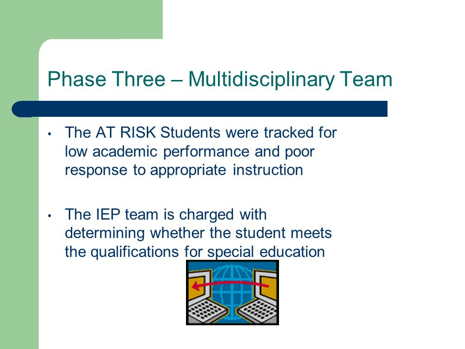 Phase Three – Multidisciplinary Team The AT RISK Students were tracked for low academic performance and poor response to appropriate instruction The I