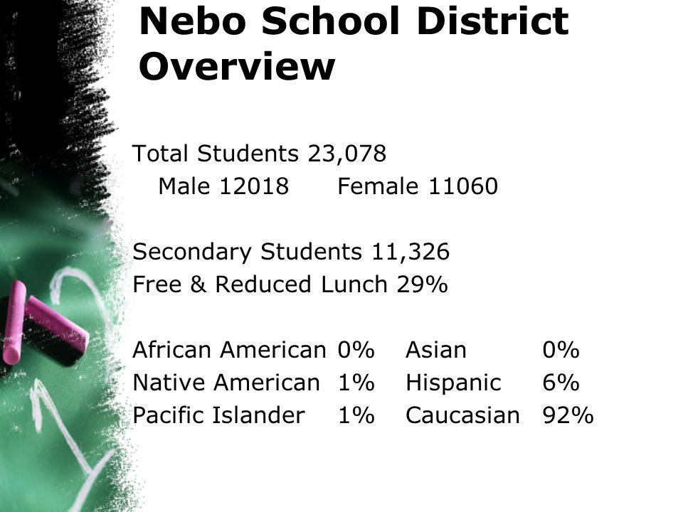 Total Students 23,078 Male 12018 Female 11060 Secondary Students 11,326 Free & Reduced Lunch 29% African American 0%Asian 0% Native American 1%Hispanic 6% Pacific Islander1%Caucasian 92% Nebo School District Overview