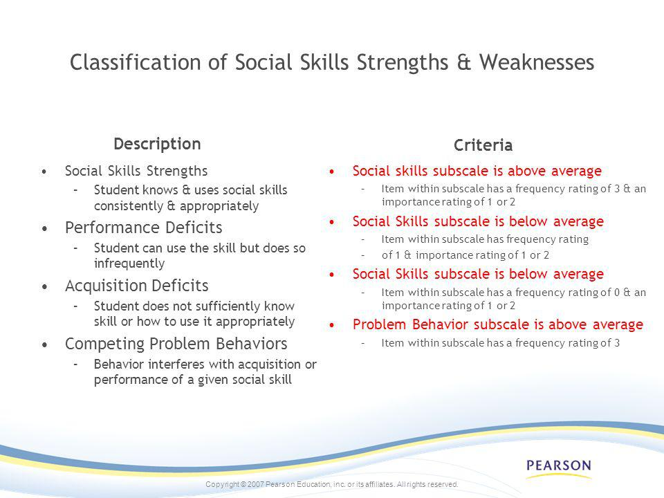 Copyright © 2007 Pearson Education, inc. or its affiliates. All rights reserved. Classification of Social Skills Strengths & Weaknesses Description So