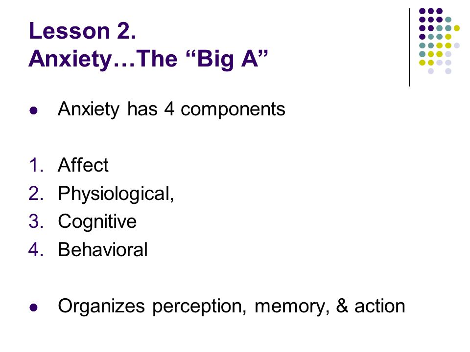 Lesson 2. Anxiety…The Big A Anxiety has 4 components 1.Affect 2.Physiological, 3.Cognitive 4.Behavioral Organizes perception, memory, & action