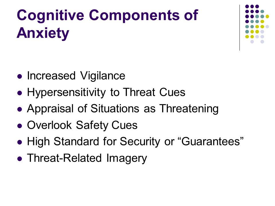 Cognitive Components of Anxiety Increased Vigilance Hypersensitivity to Threat Cues Appraisal of Situations as Threatening Overlook Safety Cues High Standard for Security or Guarantees Threat-Related Imagery