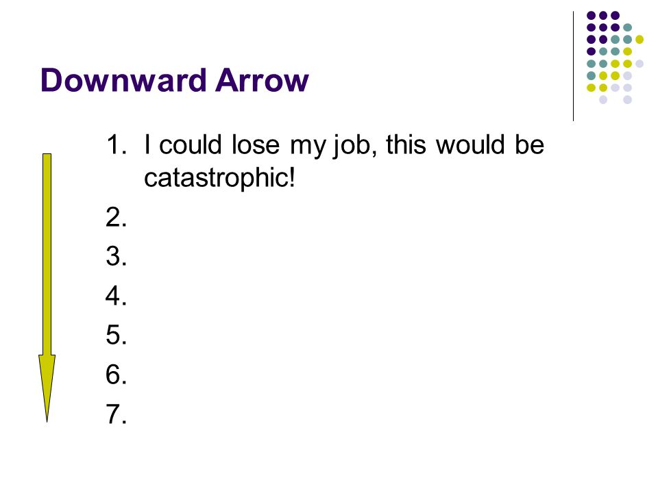 Downward Arrow 1. I could lose my job, this would be catastrophic! 2. 3. 4. 5. 6. 7.