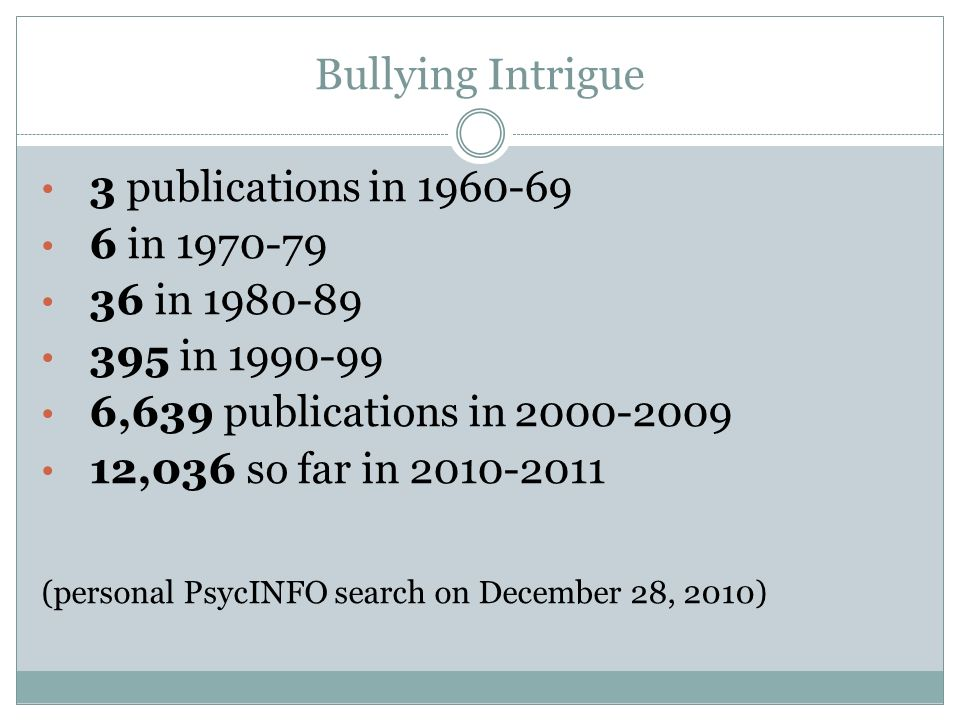 Bullying Intrigue 3 publications in 1960-69 6 in 1970-79 36 in 1980-89 395 in 1990-99 6,639 publications in 2000-2009 12,036 so far in 2010-2011 (personal PsycINFO search on December 28, 2010)