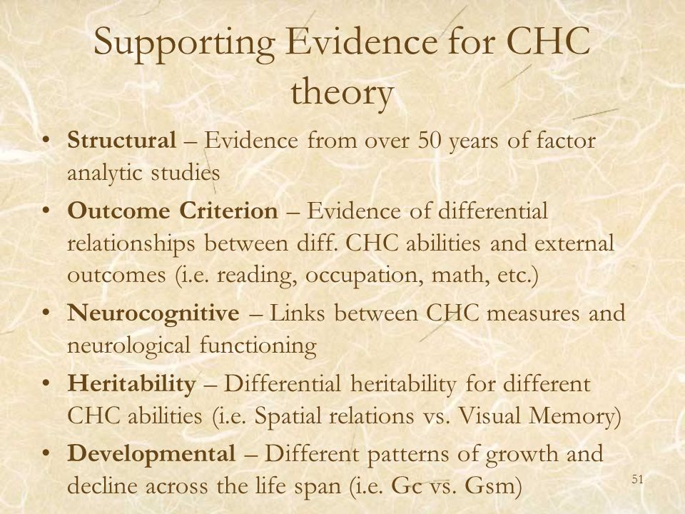 Supporting Evidence for CHC theory Structural – Evidence from over 50 years of factor analytic studies Outcome Criterion – Evidence of differential re