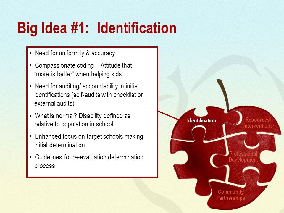 Big Idea #1: Identification Need for uniformity & accuracy Compassionate coding – Attitude that more is better when helping kids Need for auditing/ accountability in initial identifications (self-audits with checklist or external audits) What is normal.