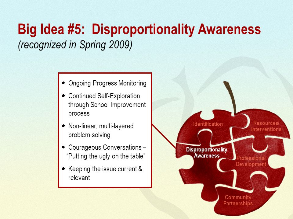 Big Idea #5: Disproportionality Awareness (recognized in Spring 2009) Ongoing Progress Monitoring Continued Self-Exploration through School Improvemen