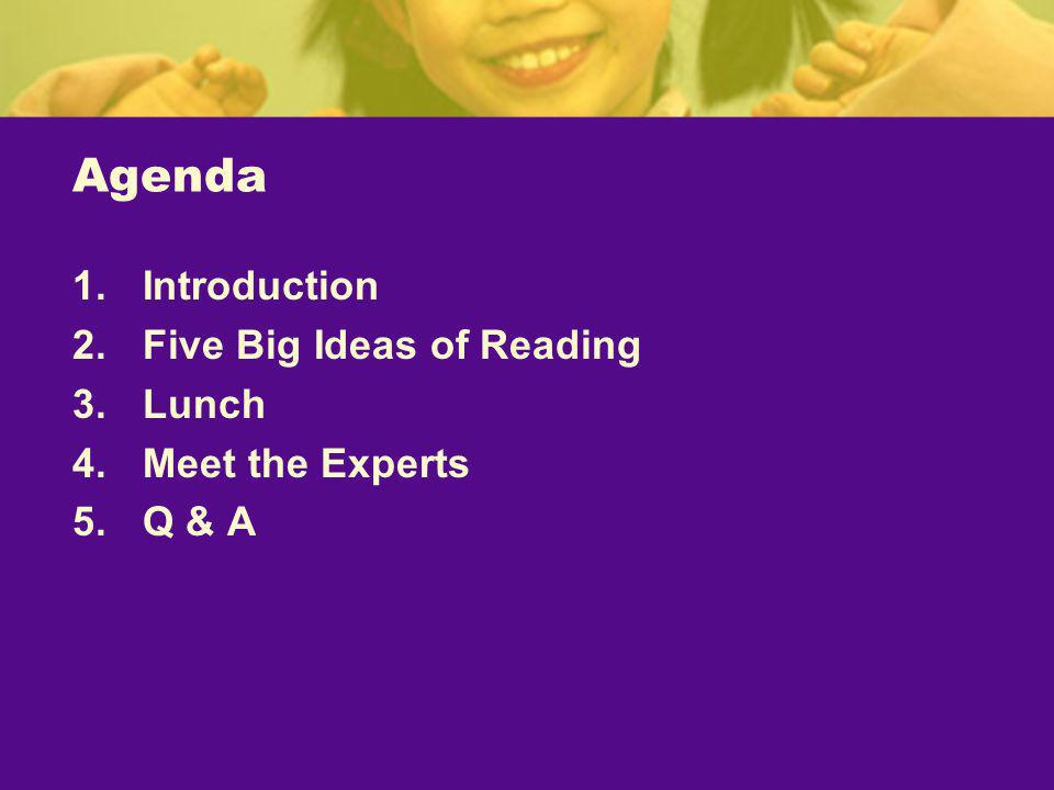 Agenda 1.Introduction 2.Five Big Ideas of Reading 3.Lunch 4.Meet the Experts 5.Q & A
