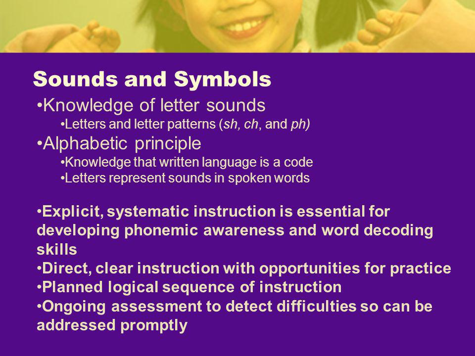 Sounds and Symbols Knowledge of letter sounds Letters and letter patterns (sh, ch, and ph) Alphabetic principle Knowledge that written language is a c