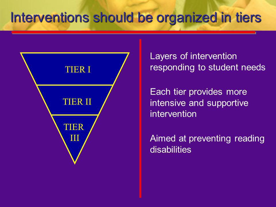 Interventions should be organized in tiers Layers of intervention responding to student needs Each tier provides more intensive and supportive interve