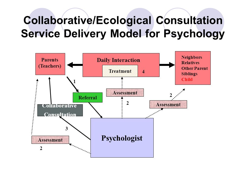 Collaborative/Ecological Consultation Service Delivery Model for Psychology Daily Interaction Parents (Teachers) Neighbors Relatives Other Parent Sibl