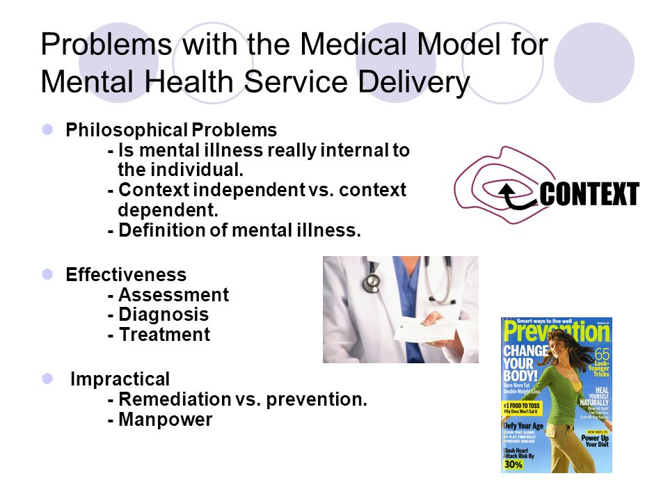 Problems with the Medical Model for Mental Health Service Delivery Philosophical Problems - Is mental illness really internal to the individual. - Con