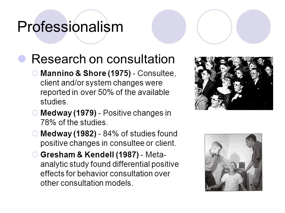 Professionalism Research on consultation Mannino & Shore (1975) - Consultee, client and/or system changes were reported in over 50% of the available s