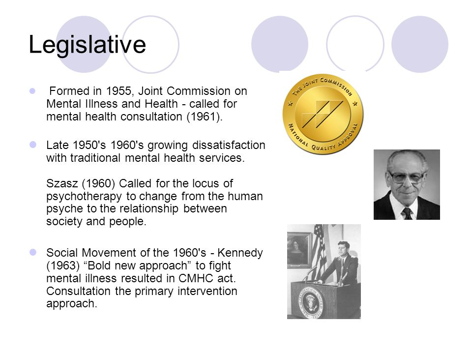 Legislative Formed in 1955, Joint Commission on Mental Illness and Health - called for mental health consultation (1961). Late 1950's 1960's growing d