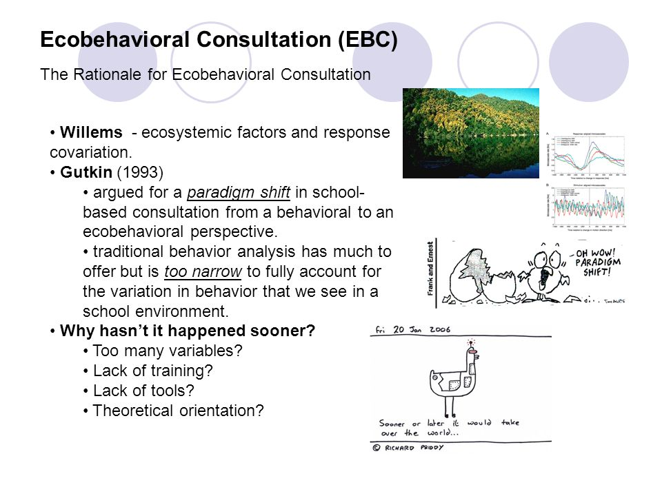 Ecobehavioral Consultation (EBC) The Rationale for Ecobehavioral Consultation Willems - ecosystemic factors and response covariation. Gutkin (1993) ar