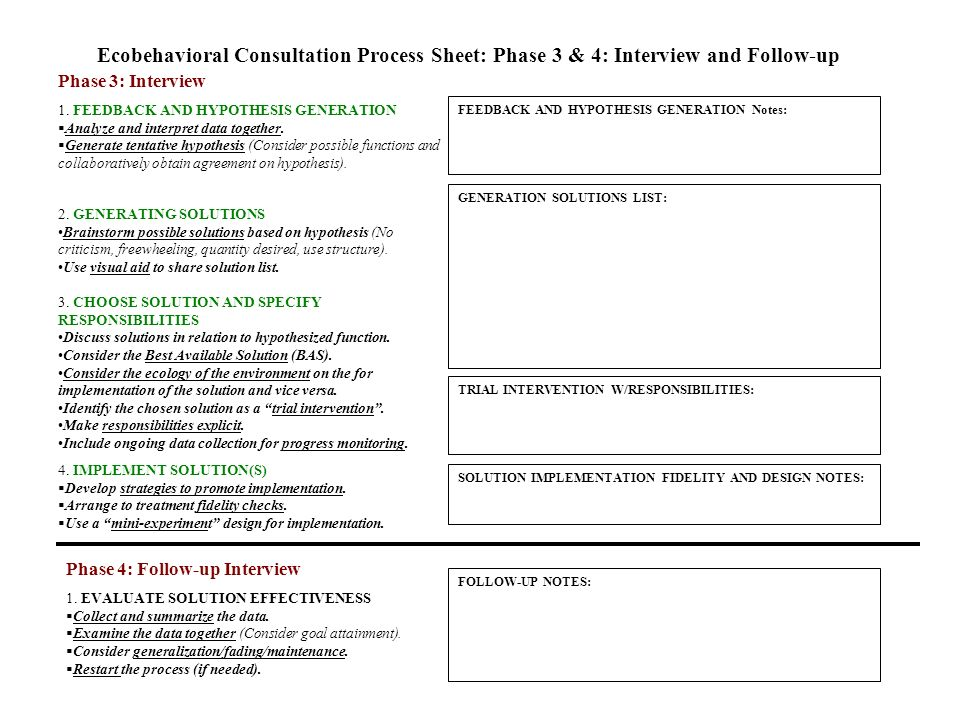 Ecobehavioral Consultation Process Sheet: Phase 3 & 4: Interview and Follow-up 1. FEEDBACK AND HYPOTHESIS GENERATION Analyze and interpret data togeth