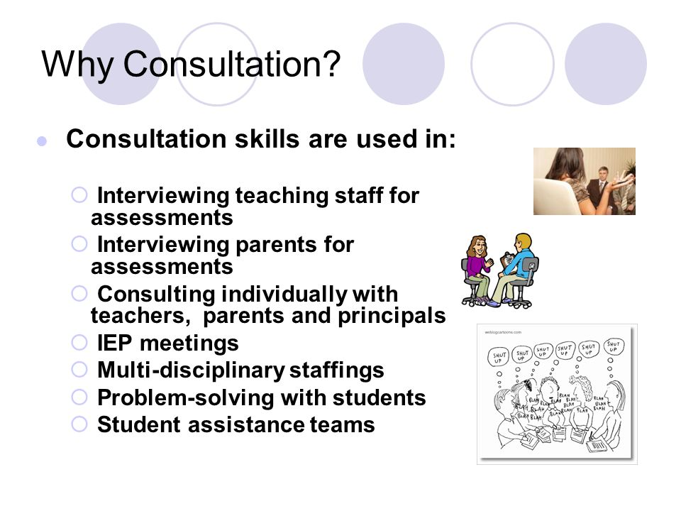 Consultation skills are used in: Interviewing teaching staff for assessments Interviewing parents for assessments Consulting individually with teacher