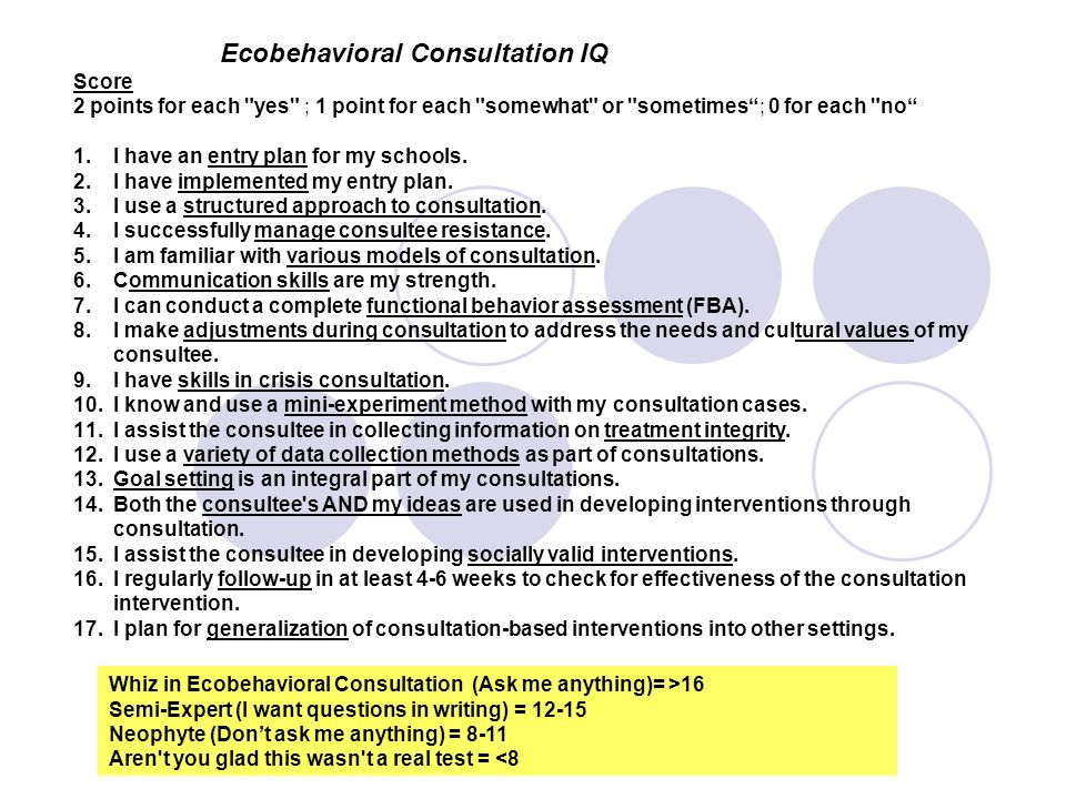 Ecobehavioral Consultation IQ Score 2 points for each