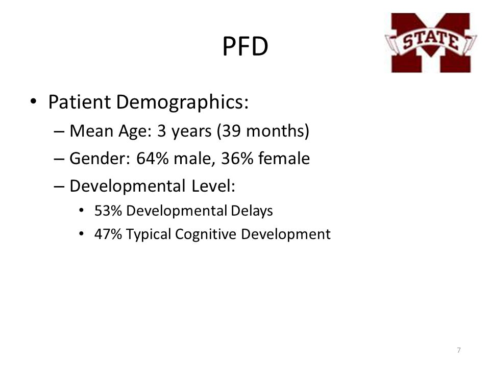 PFD Patient Demographics: – Mean Age: 3 years (39 months) – Gender: 64% male, 36% female – Developmental Level: 53% Developmental Delays 47% Typical C