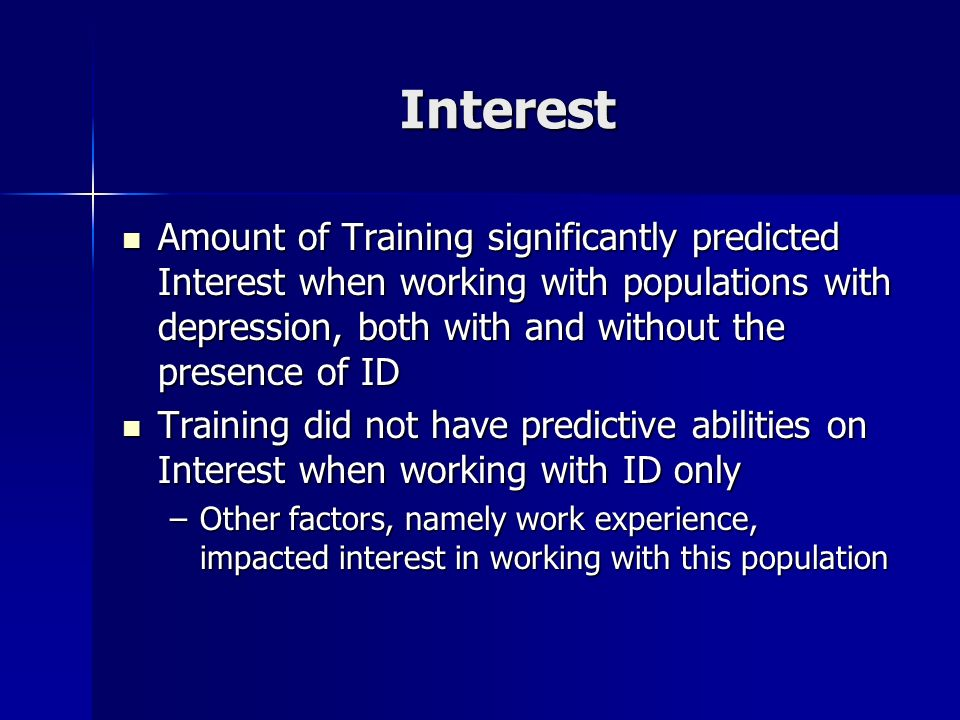 Interest Amount of Training significantly predicted Interest when working with populations with depression, both with and without the presence of ID A