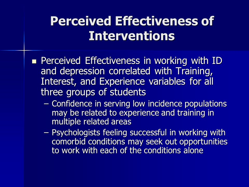 Perceived Effectiveness of Interventions Perceived Effectiveness in working with ID and depression correlated with Training, Interest, and Experience