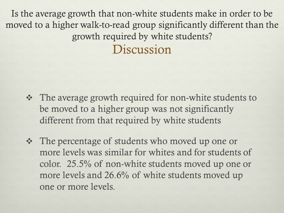 Is the average growth that non-white students make in order to be moved to a higher walk-to-read group significantly different than the growth required by white students.