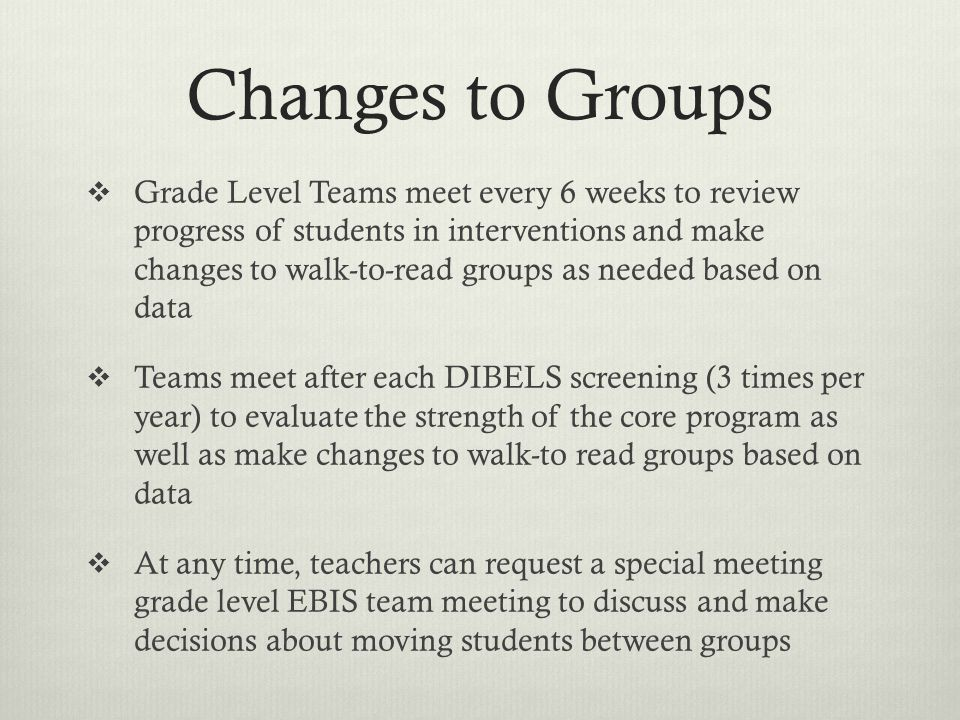 Changes to Groups Grade Level Teams meet every 6 weeks to review progress of students in interventions and make changes to walk-to-read groups as need