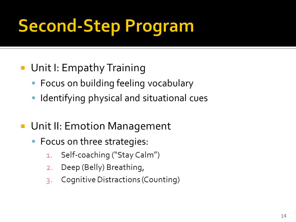 Unit I: Empathy Training Focus on building feeling vocabulary Identifying physical and situational cues Unit II: Emotion Management Focus on three str