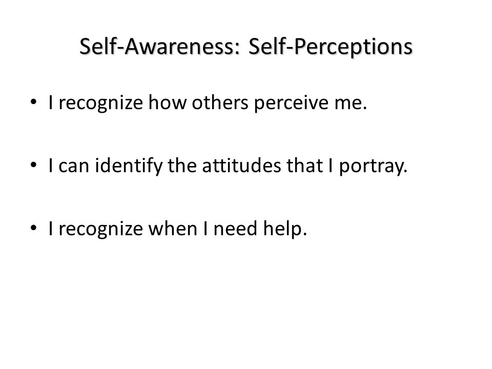 Self-Awareness: Self-Perceptions I recognize how others perceive me.