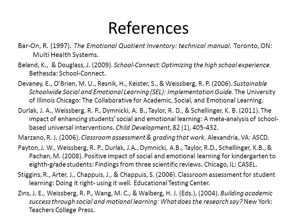 References Bar-On, R. (1997). The Emotional Quotient Inventory: technical manual.