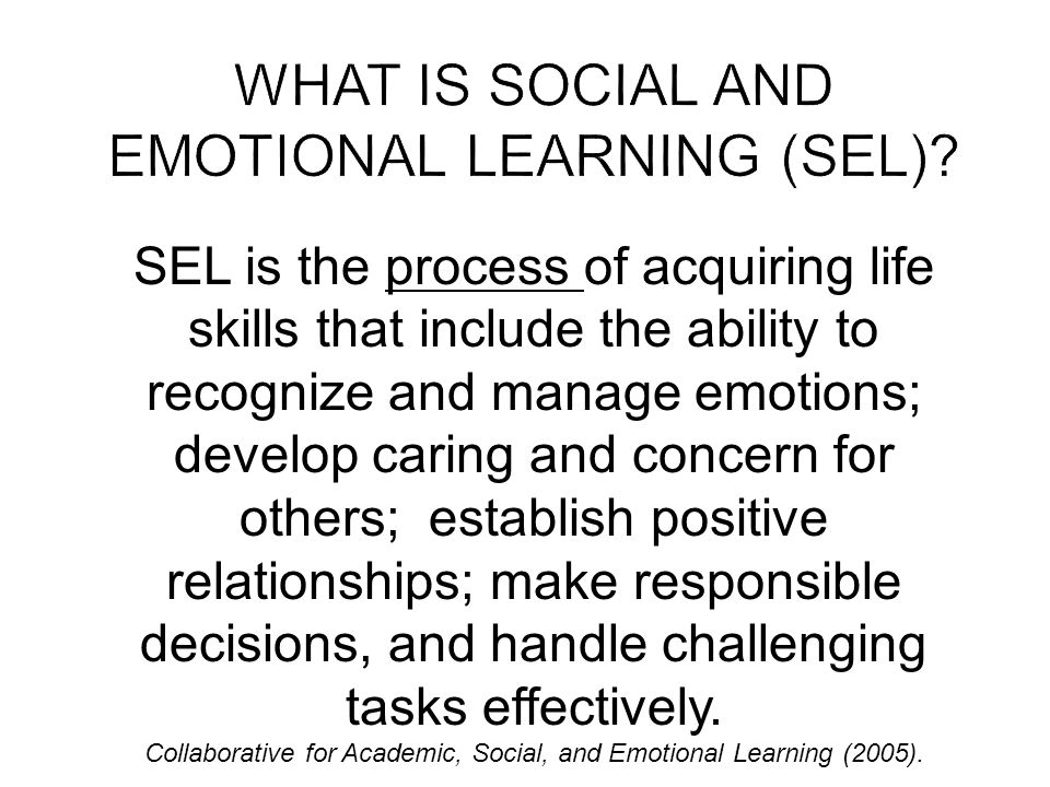 SEL is the process of acquiring life skills that include the ability to recognize and manage emotions; develop caring and concern for others; establish positive relationships; make responsible decisions, and handle challenging tasks effectively.