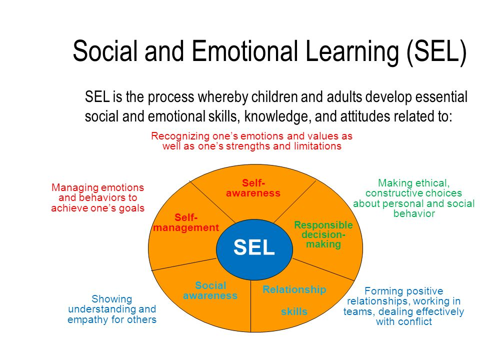 Social and Emotional Learning (SEL) SEL is the process whereby children and adults develop essential social and emotional skills, knowledge, and attitudes related to: SEL Self- awareness Social awareness Relationship skills Responsible decision- making Self- management Forming positive relationships, working in teams, dealing effectively with conflict Making ethical, constructive choices about personal and social behavior Managing emotions and behaviors to achieve ones goals Showing understanding and empathy for others Recognizing ones emotions and values as well as ones strengths and limitations