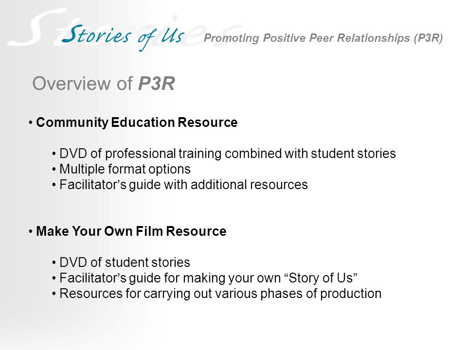 Overview of P3R Community Education Resource DVD of professional training combined with student stories Multiple format options Facilitators guide with additional resources Make Your Own Film Resource DVD of student stories Facilitators guide for making your own Story of Us Resources for carrying out various phases of production Promoting Positive Peer Relationships (P3R)