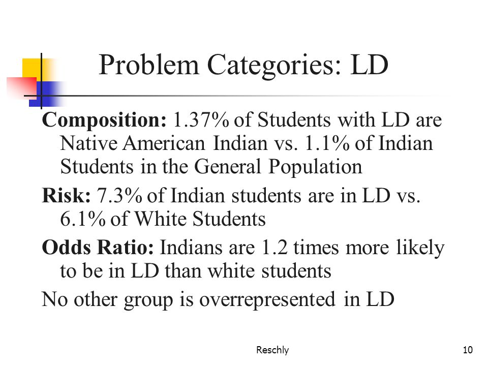 Reschly10 Problem Categories: LD Composition: 1.37% of Students with LD are Native American Indian vs. 1.1% of Indian Students in the General Populati