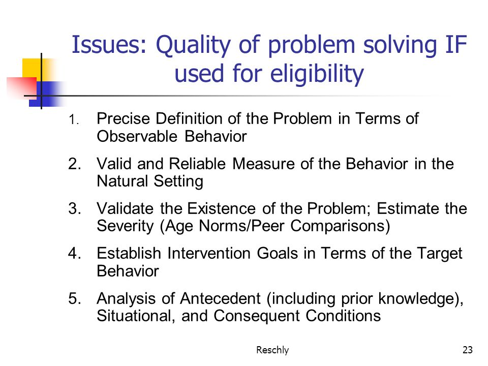 Reschly23 Issues: Quality of problem solving IF used for eligibility 1. Precise Definition of the Problem in Terms of Observable Behavior 2.Valid and
