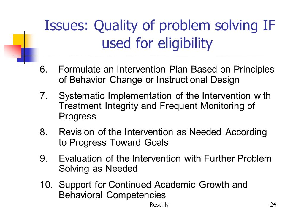 Reschly24 Issues: Quality of problem solving IF used for eligibility 6. Formulate an Intervention Plan Based on Principles of Behavior Change or Instr
